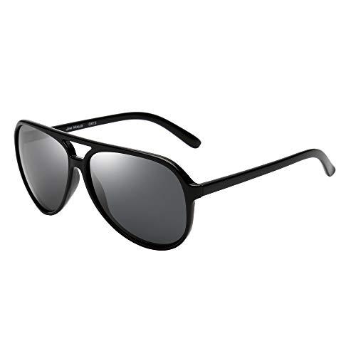 JIM HALO Polarizadas Aviador Gafas de Sol Hombre Mujer Oversize Plástico Conduciendo Anteojos(Marco Negro/Lente Gris Polarizado)