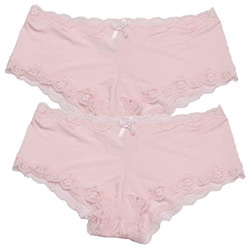 Mujeres Correos de encaje Bikinis Knickers Elástico Hipster Hipster Sexy Bragas Underwear 2 Pack chenghuax (Color : Pink)