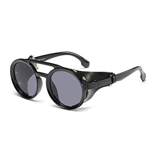 MAOS Protección UV de protección de los vidrios por Deportes al Aire Libre, Alpinismo, Ciclismo Marco de Las Gafas de Sol a Prueba de Viento Espejo Redondo (Color : Negro)