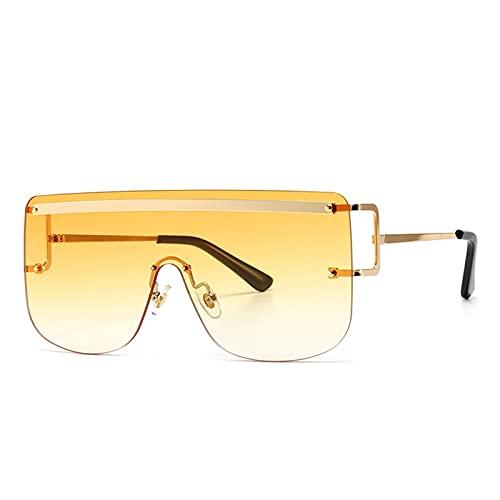Gafas de Sol cuadradas sin Montura Mujer Retro de una Pieza Gafas de Sol Gafas de Gafas Transparentes Femeninas Damas (Color : 4, Size : G)