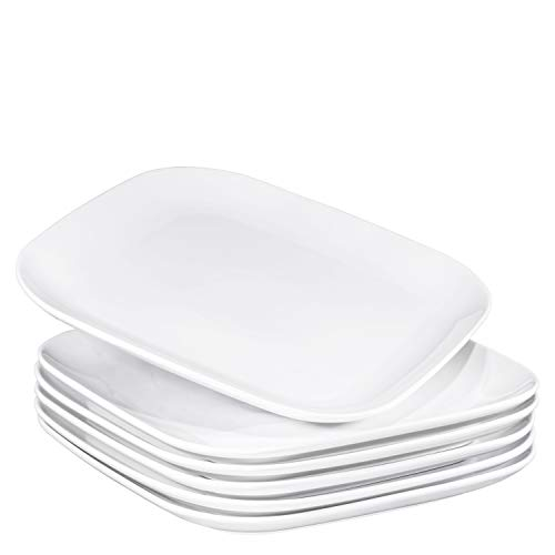 """Bruntmor 10"""" Square Dinner Plates, Ceramic Dinner Dishes That Are Chip Resistant, BPA, Cadmium And Lead Free, Microwave, Oven and Dishwasher Safe (6-piece Set, White)"""