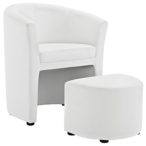 Modway Divulge Faux Leather Armchair and Ottoman Set in White