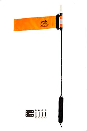 YakAttack VISICarbon Pro 360 Degree LED MightyMount and Hardware Kayak Fishing Visibility Flag, Orange (CPM+MMH)