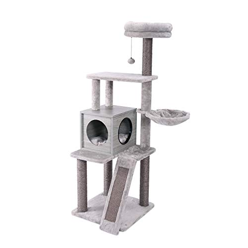 PAWZ Road 57 Inches Cat Tree 4 Levels Platform for Large Cats Featuring with Fully Scratching Posts Hammock Padded Perch and Dangling Ball