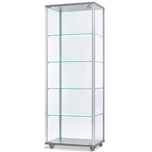 MHN hohe verschließbare Glasvitrine mit LED-Beleuchtung 60 x 40 cm mit Spiegelrückwand/auf Standfüßen