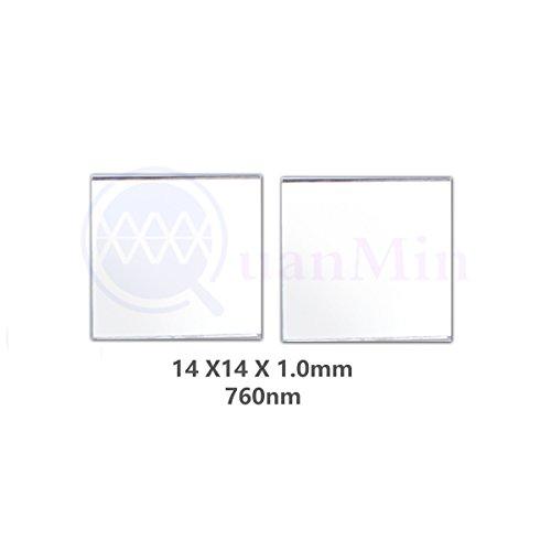 Quanmin 2個 / 1ロット14mm×14mm×1.0mm赤外線高透過フィルター760nm角可視光反射フィルター用ナローロングパスフィルター