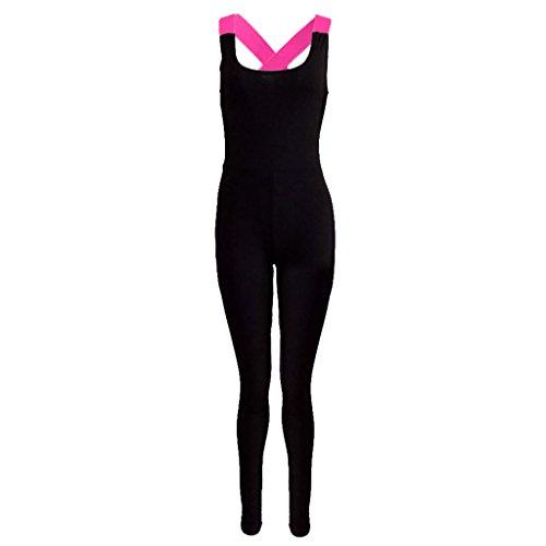 Damen Frauen Sexy Sport Yoga Trainingsanzug Overalls Jumpsuit Fitness Jogginganzug - Roserot, XL