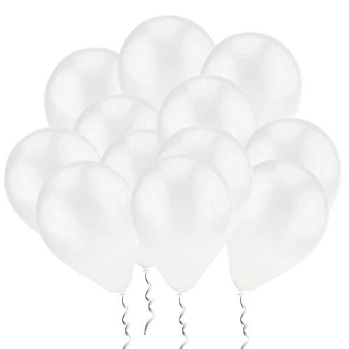 QYY 100 Piezas Latex Globos Blancos Decoración para sesión fotográfica/Cumpleaños/Fiesta de Boda/Festival/Evento/Decoraciones de Carnaval /Paquete Blanco