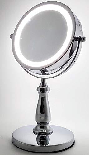 Espelho de Mesa Camarim Facial Banheiro Luz Led Aumento 5x Maquiagem 15cm