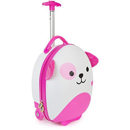 Boppi Tiny Trekker Leichter Kinderreisetrolley zum Ziehen mit Rädern in Handgepäckgröße (17 Liter Fassungsvermögen) - Rosa Hund