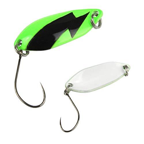 Fishing Tackle Max FTM Trout Spoon Forellenblinker Spark Grün Weiß mit Blitz 2,5g 5200273 Spoons Forellenangeln Spoonangeln Ultra Light