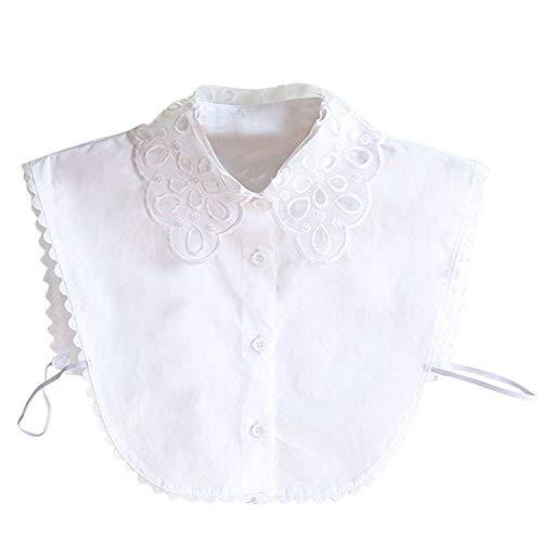 Hocaies Frauen Kragen Vintage Elegante Abnehmbare Hälfte Shirt Bluse Cotton Kragen Weiß Damen Blusenkragen, M, Spitzenarbeiten