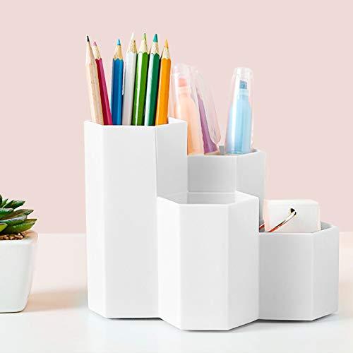 Stiftebox aus Kunststoff,Hexagonal Stifthalter,Stifteköcher Schreibtisch Organizer,Multifunktionaler Stifthalter,Schreibwaren Stifthalter Box,Stifthalter Aufbewahrungsbox,Pencil Organizer (Weiß)