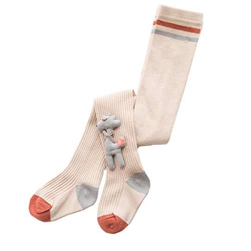 Vaeiner Gebreide Sokken, Kinderen Peuter Meisjes Lange Broek Katoen Panty Sokken Geribbelde Gebreide Panty Leggings met Leuke Borduurwerk Cartoon Herten Pop