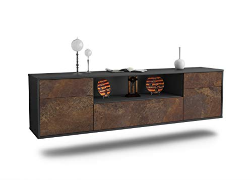 Dekati Lowboard Suhl hängend (180x49x35cm) Korpus anthrazit matt | Front rostigen Industrie-Design | Push-to-Open