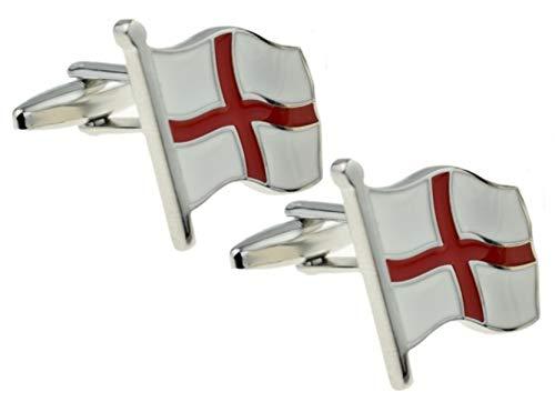 England St George-Flaggen-Fußball-Rugbykricket-Geschenk-Manschettenknöpfe Von CUFFLINKS.DIRECT (Manschettenknöpfe mit Geschenkbeutel)
