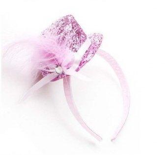 300302 Widmann Mini Hut Glitzer auf Haarreif, Partyhut, pink