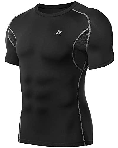 Roadbox Funktionsshirt Herren, Kompressionsshirt mit Unterarm Mesh Laufshirt für Running Gym Workout Athletic Sportshirt
