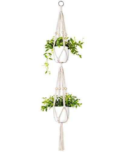 Mkono Macrame Double Plant Hanger Indoor Outdoor 2 Tier Hanging Planter Basket Cotton Rope with Beads 4 Legs 49 Inches
