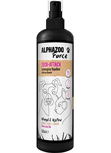 alphazoo ZeckAttack Zeckenspray für Hunde & Katzen, Anti Zecken Spray, natürlicher Zeckenschutz für Hunde, Zeckenmittel gegen Flöhe, Parasiten, Insektenspray auf Basis ätherischer Öle (500ml)