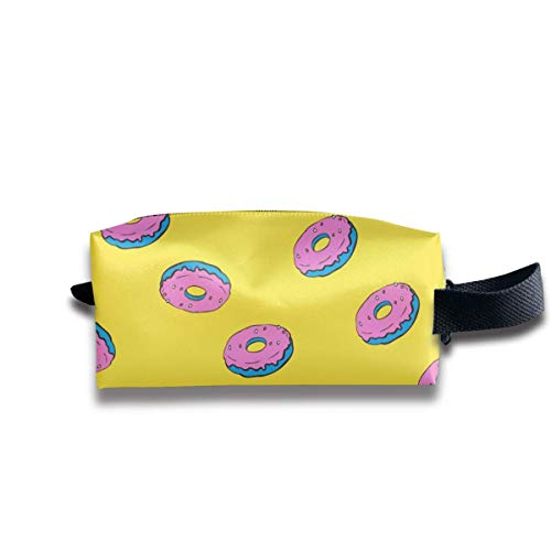 Cartoon Donut Yellow Fashion Storage Bag Women Cosmetic Train Case Pouch - Multifunction Tote Bag...