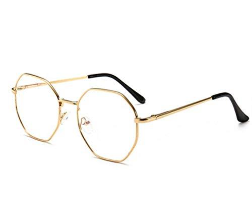 XMYNB Gafas Blu-ray Vintage Anti Azul Claro Vidrios Marco Lente Redondo Myopia Óptico Espejo Simple Metal Mujeres Hombres Transparente Gafas Marcos