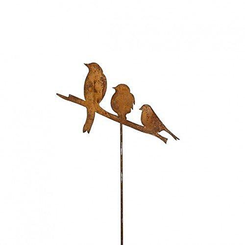 Gartenstecker Vögel 3er Metall Rost Gartendeko Edelrost Groß
