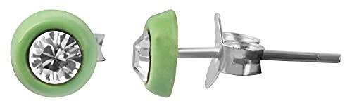Pendientes infantiles de plata de ley 925, redondos con piedra de similista, color verde claro