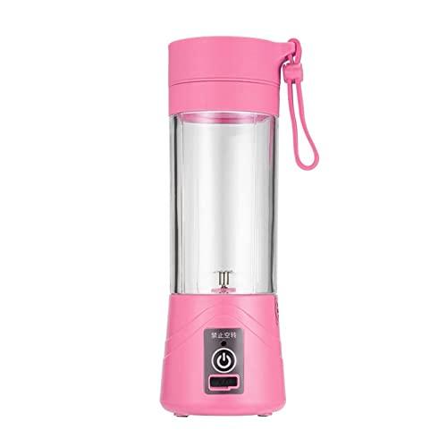Batidora portátil Copa de Juicer USB, Máquina de mezcla de frutas, Mezclador Portátil Recargable Eletricable, Bomber, Botella de Agua 380ml (Color : Pink)