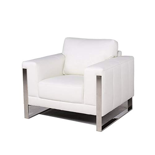 MAKLAINE Leather Accent Chair with Metal Leg in White
