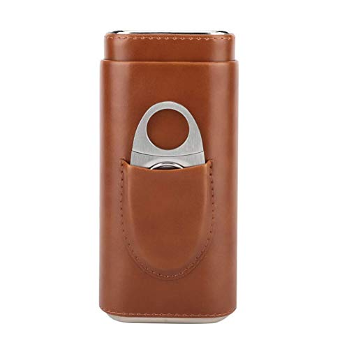 DHFD Cedar Wood Lined Cigar Humidor with Cigar Cutter, Cigar Leather Humidors, Cigar Case Humidor, Portable Leather Cigar Case, for Friends, Dad, Cigar Lover, Brown