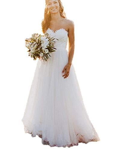 ANJURUISI Damen Spitze Brautkleid Sweetheart A-Linie Lang Tüll Landhausstil Brautkleider Gr. 50 Plus, weiß