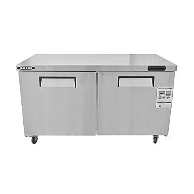 kalifon Commercial Undercounter Freezer 16.4 Cu. Ft Stainless Steel Worktop Freezers with Two Solid Door for Kitchen Restaurant, with Lift Gate