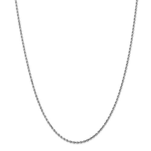 Diamond2deal Oro bianco 14K 2mm corda catena collana 61cm