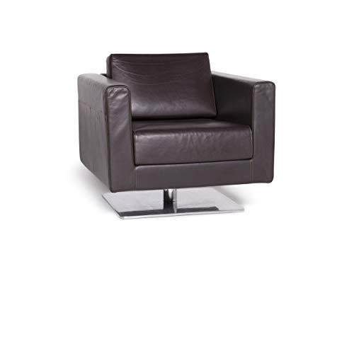 Vitra Park Swivel Armchair Designer Sessel Leder Braun Jasper Morrison Aluminium poliert, Massivholz Echtleder #3659