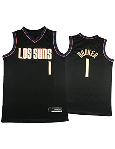 Kfdfns Camiseta de Baloncesto para Hombre 2021 NBA Phoenix Suns # 1 Devin Booker Chaleco Deportivo Transpirable Top Sudadera sin Mangas Camiseta Chaleco Top