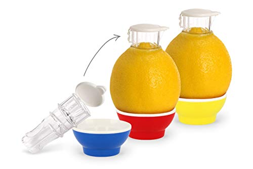 Patent-Safti 3 x Entsafter I Der Originale Safti Ausgießer für Zitronen, Orangen etc. I Einfacher als Jede Zitronenpresse oder Saftpresse I BPA frei,(Blau Rot Gelb)