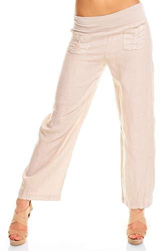 Easy Young Fashion Damen Hose Lang Leinen Loose Fit Leinenhose Sommerhose Weite Harem Leinenhose Uni Beige L 40