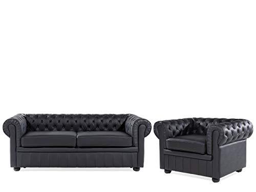 Beliani Klassisches Sofa mit Sessel im englischen Stil Schwarz 3-Sitzer Echtleder Chesterfield