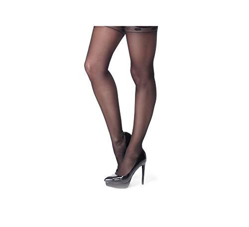 Miss O Ouvert Straps-Strumpfhose mit Spitzenbund 20den (Schwarz, L/XL)