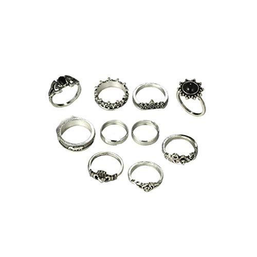 9pcs / Set de diseño de Moda Anillos para los Suministros de uñas Adolescente de la Muchacha del Estilo Bohemio de la Vendimia Anillos Pila nudillo Punky Llama Conjunto de Plata