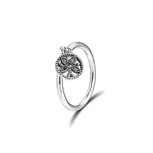 Gflyme Anillos de plata 925 para el día de la madre, regalo del árbol de la vida, para mujeres, para pulseras originales de Pandora (52 #)