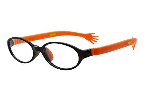 フロートリーディング(老眼鏡)テンプル(腕)のカラーを選べる グッドデザイン賞受賞のオシャレな老眼鏡 鯖江企画 驚きの掛け心地 首にも掛けれる ブルーライトカット 超軽量 モデル:オニキス (オニキス + ハグ(オレンジ), 度数2.5)