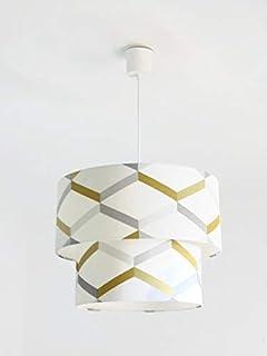 Lustre suspension plafonnier double abat-jour géométrique scandinave jaune gris Luminaire cylindre rond idée cadeau annive...