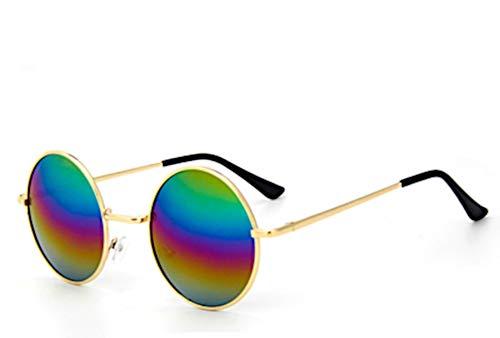 CHICNET Hochwertige Damen Herren Sonnenbrille Rundglas Hippie 40er Jahren Brille 400UV rund, runde Gläser, langer Steg, aus Metall und Acryl, verspiegelt und getönt (Regenbogen)
