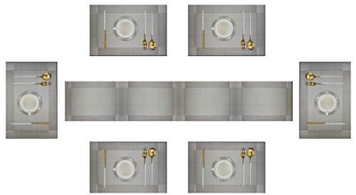Eageroo 6er Platzdeckchen mit einem Tischläufer, rutschfest Abwaschbar Tischmatten aus PVC Abgrifffeste Hitzebeständig Tischsets Schmutzabweisend, Grau