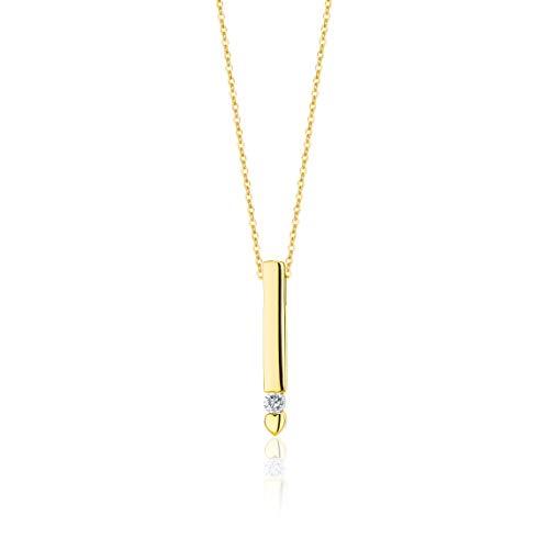 Orovi Damen Halskette mit Diamant GelbGold Kette 9 Karat (375) Brillianten 0.07crt, Goldkette