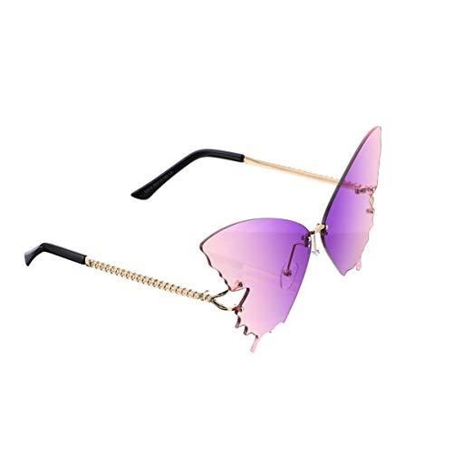 SOIMISS Randlose Sonnenbrille Schmetterling Sonnenbrille Vintage Punk Ocean Beach Hipster Brille Augenschutzbrille für Frauen Damen Grau Foto Requisite (Lila Und Rosa)