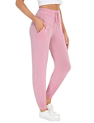 Abollria Pantalones de Pijama Mujer Largos de Suave,Comodo y Moderno,Pantalones Deportivos Casuales (S, Rosado-3)