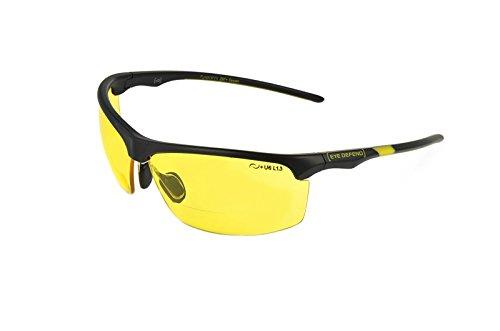 rainbow safety Sonnenbrille mit Lesehilfe Bifokal Sportbrille mit Leseteil für Radler Baseball Laufen Angeln Nachtsicht Schutzbrille Kontrastbrille (PRO BLK-YEL+2.50D)